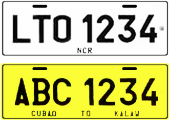 Vehicle registration plates of the Philippines - An example design of a 2014 series vehicle registration plate; Plate for private and light vehicles (Top) and for Public Utility vehicles (Bottom).