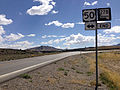 2014-09-09 12 34 26 Signs at the south end of southbound Nevada State Route 278 (Eureka-Carlin Road) at U.S. Route 50 in Eureka County, Nevada.JPG