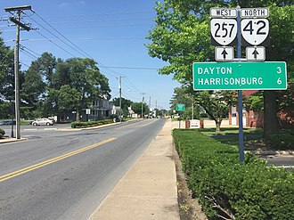Bridgewater, Virginia - View north along SR 42 and west along SR 257 in Bridgewater