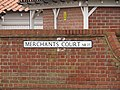 2018-04-28 Street name signMerchants Court, Cromer.JPG