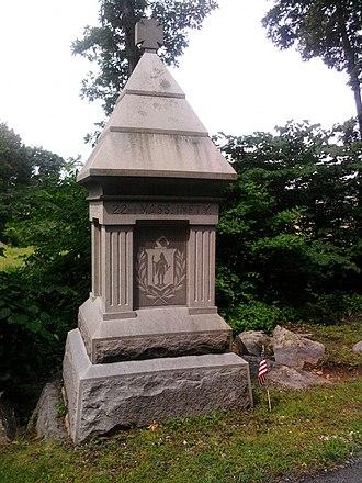 22nd Regiment Massachusetts Volunteer Infantry - The regimental monument of the 22nd Massachusetts on Sickles Road, near the Wheatfield, on the Gettysburg Battlefield