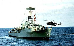 27 taking the tow to HMS Eskimo Sept 1975.jpg