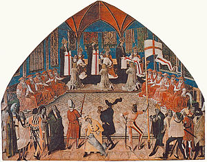 Siege of Wiener Neustadt - on 1 January 1469 in the presence of Emperor Frederick III Pope Paul II accolades Johann Siebenhirter the first Grand Master of the St. George's Knights in the Lateran Basilica