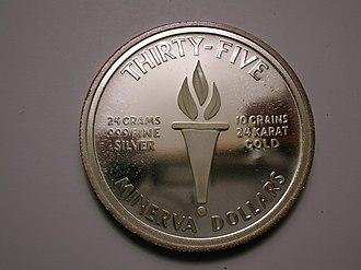 Minerva Reefs - 35 Minerva Dollar coin, reverse