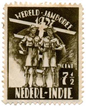 5th World Scout Jamboree - Image: 5th World Scout Jamboree Netherlands East Indies stamp 1937