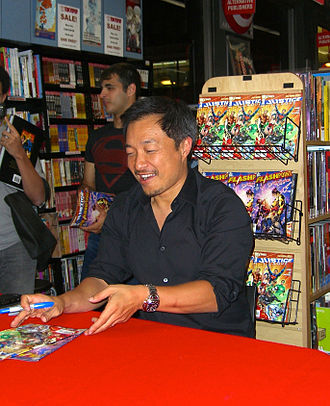 Jim Lee - Lee at the August 31, 2011 midnight signing of Flashpoint No. 5 and Justice League No. 1 at Midtown Comics, which initiated DC's The New 52 initiative