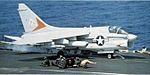 A-7E of VA-81 on cat of USS Forrestal (CV-59) 1981.jpg