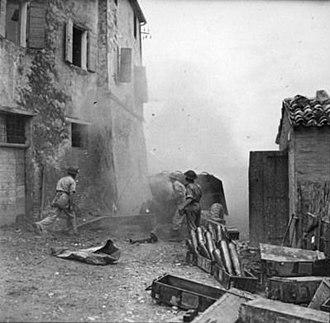 Gemmano - Shelling of German-held Gemmano in September 1944