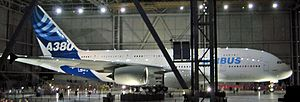 "Languedoc - The first completed Airbus A380 at the ""A380 Reveal"" event on 18 January 2005 in Toulouse, home base of the European aerospace industry."