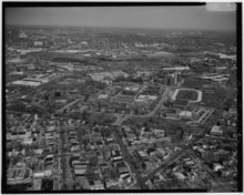 AERIAL VIEW OF FLORIDA AVENUE AND GALLAUDET UNIVERSITY, LOOKING NORTHEAST FROM OVER NINTH AND K STREETS, NE. (Photograph enlarged from 4x5 negative.) - Florida Avenue, Washington, HABS DC,WASH,602-3.tif