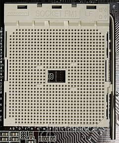 An AMD FM1 CPU socket