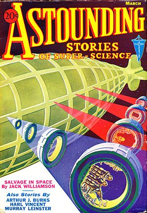 Analog Science Fiction and Fact - The  cover of the March 1933 Astounding, by Wesso, originally painted to illustrate E.E. Smith's Triplanetary