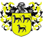 A coat of arms showing three black dogs on a field of yellow.