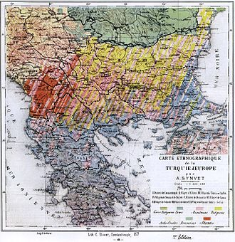 Congress of Berlin - Ethnic composition map of the Balkans in 1877 by A. Synvet, a known French professor of the Ottoman Lyceum of Constantinople.
