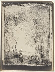 Cliché verre print of a young woman holding a child in her arms with trees either side and open countryside in the background