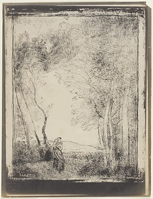 Cliché verre - A Young Mother at the Entrance to a Wood (1856) by Jean-Baptiste-Camille Corot