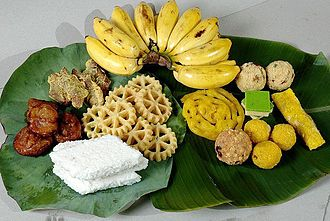 Puthandu - A traditional arrangement of festive foods for Puthandu.