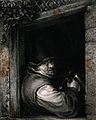 A man with tankard in hand leans by a window. Mezzotint, ear Wellcome V0019506.jpg