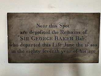Sir George Baker, 1st Baronet - A memorial to Sir George Baker, 1st Baronet, in St James's Church, Piccadilly.
