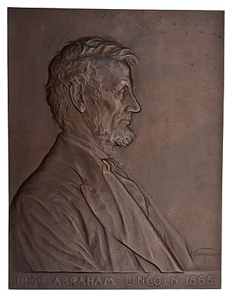 Lincoln cent - Brenner's 1907 plaque of Abraham Lincoln