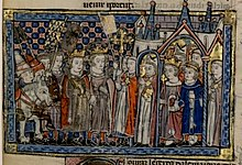 Miniature depicting two crowned young men arriving at the walls of a city accompanied by soldiers and bishops, a crowned woman and man receiving the visitors