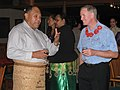 Adm. Walsh with Brig. General Tau'aika 'Uta'atu at a reception hosted by Tonga's Prime Minister, Lord Tu'ivakano. (5886410814).jpg