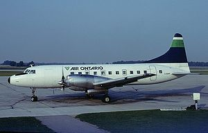 Air Ontario - An Air Ontario Convair 580 at London International Airport, London in the Canadian province of Ontario. (1983)