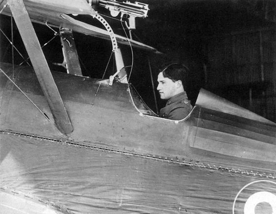 Ball in the cockpit of his S.E.5, April 1917 Albert Ball SE5a cockpit.jpg