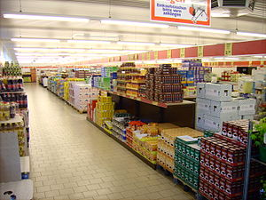 No frills - The aisles of an Aldi supermarket in Germany
