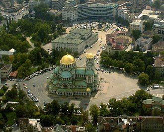 Alexander Nevsky Cathedral, Sofia - Alexander Nevsky Cathedral in Sofia, with the parliament behind.