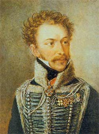 Alexander Ypsilantis - Ypsilantis in the uniform of a senior officer of the Russian Hussars, 1810s.