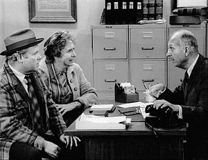 Jean Stapleton - Stapleton with Carroll O'Connor (left) and guest star James O'Rear, in a 1973 episode of All in the Family
