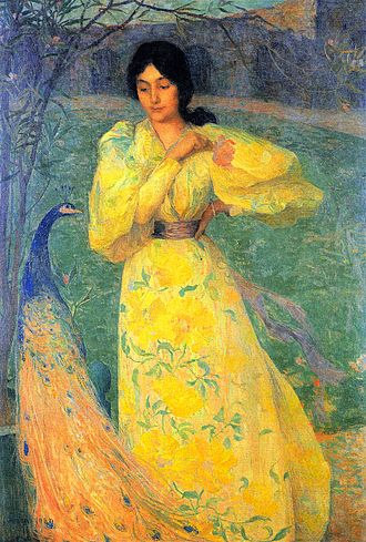 Edmond Aman-Jean - Young Girl with Peacock, 1895