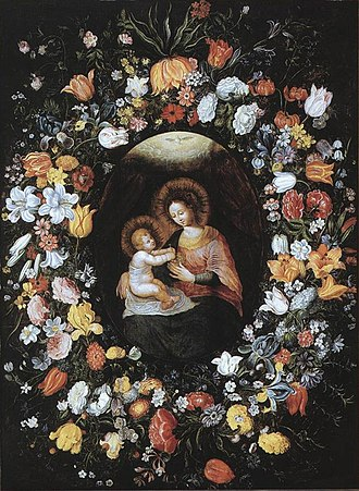 Ambrosius Brueghel - Holy Virgin and Child in a flower garland