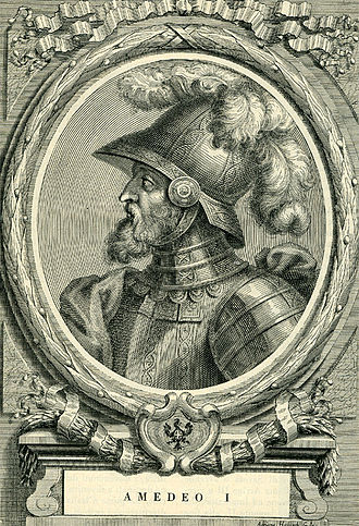 Amadeus I, Count of Savoy - Fanciful 18th-century etching of Amadeus by the Piedmontese historian Francesco Maria Ferrero di Lavriano.
