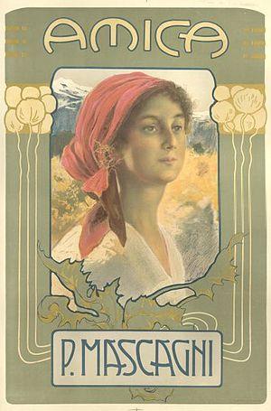 Pietro Mascagni - Original Amica poster (1905)