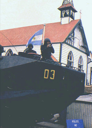 Argentina Marines - Argentine Marines Amtrack in the Falklands patrolling Port Stanley, 1982.