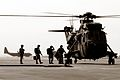 An 845 NAS Sea King Mk4 helicopter picked up some passengers on their way to another part of Southern Iraq. MOD 45146107.jpg
