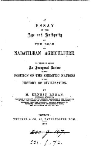 An Essay on the Age and Antiquity of the Book of Nabathaean Agriculture.djvu