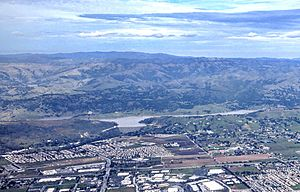 Anderson Lake (California) - Anderson Reservoir, above Morgan Hill and San José, California, near capacity, two weeks after its overflow flooded neighborhoods in San Jose.