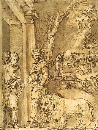 "Androcles - ""We used to see Androcles with the lion attached to a slender leash, making the rounds of the city"", a pen and wash drawing by Baldassare Peruzzi, 1530s"