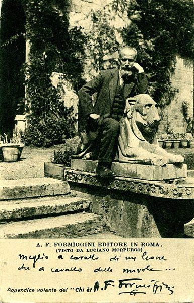 File:Angelo Fortunato Formiggini a cavallo di un leone.jpg