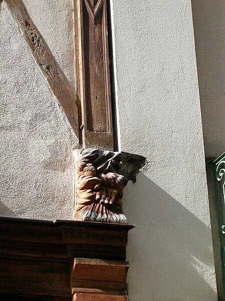 Détail de colombage à Angers, rue Saint-Laud.
