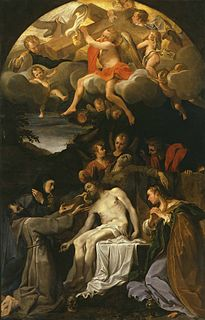 <i>Pietà with Saints Clare, Francis and Mary Magdalene</i> Painting by Annibale Carracci