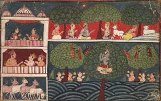Krishna Stealing Gopis' Clothes, Page from the Bhagavata Purana