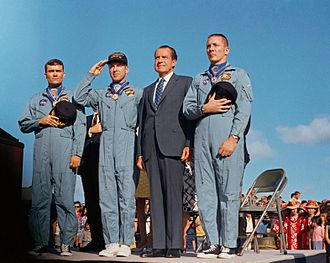Necklet - The Apollo 13 crew, wearing their Presidential Medals of Freedom on ribbons.