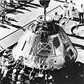 Apollo 8 command module on elevator of USS Yorktown (CVS-10) in December 1968.jpg