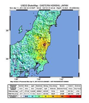 April 2011 Fukushima earthquake - USGS shake map