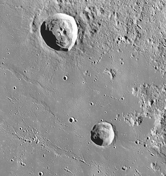 Archytas (crater) - Archytas (upper left) and Protagoras (lower right). LRO image.