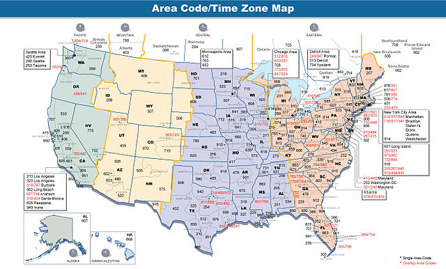 Area Code and Time Zone Map of the United States